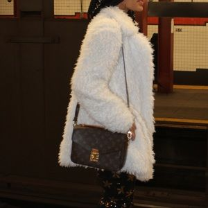 White fur pea coat